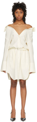 Alexander Wang Off-White Falling Belted Shoulder Shirt Dress