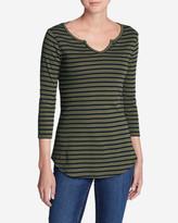 Eddie Bauer Women's Favorite Notched Neck 3/4-Sleeve Top - Stripe
