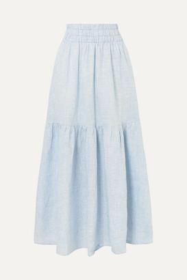 Mara Hoffman Net Sustain Carmen Tiered Striped Hemp Maxi Skirt - Sky blue