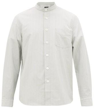 A.P.C. Alejandro Band-collar Striped Cotton Shirt - Mens - Light Blue