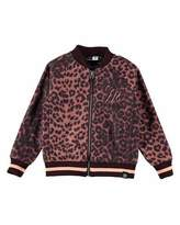 Molo Hally Leopard Rose Bomber Jacket, Brown, Size 6-14