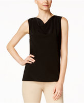Kasper Knit Draped-Neck Top