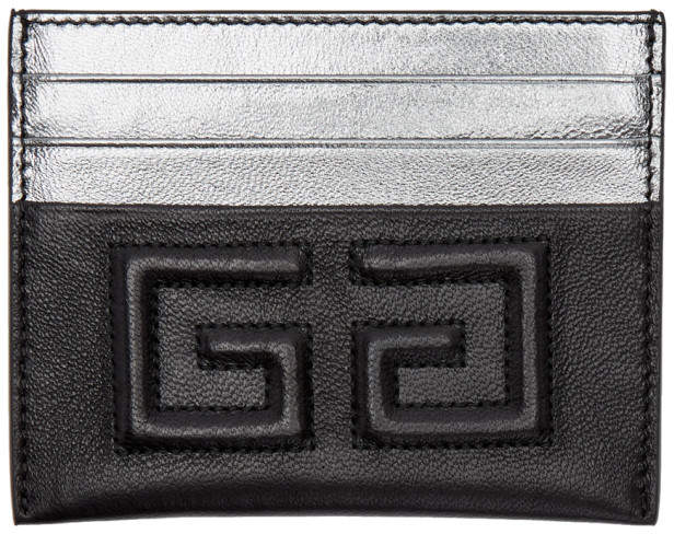 Givenchy Black and Silver Emblem 4G Card Holder