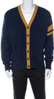 Dolce & Gabbana Blue Wool V-Neck Stripe Detail Cardigan XXL