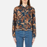 Gestuz Women's Brielle Printed Bomber Jacket Teal Flower Print