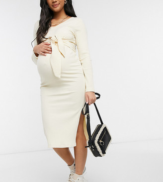 Mama Licious Mamalicious Maternity knitted midi dress with tie waist in cream