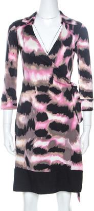 Diane von Furstenberg Multicolor Print Silk Lindsey Mini Wrap Dress S