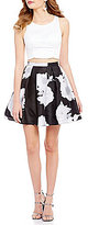 Sequin Hearts Solid Open-Back Top to Floral Party Skirt Two-Piece Dress