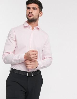 Asos DESIGN stretch slim fit work shirt in pink