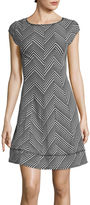 Robbie Bee Cap-Sleeve Chevron-Dot Fit-and-Flare Dress