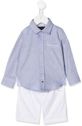 Lapin House Point-Collar Shirt And Short Set