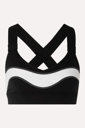 NO KA 'OI NO KA'OI - Fearless Ola Striped Stretch Sports Bra - Black