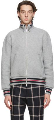 Thom Browne Grey Wool Pique Funnel Zip-Up Jacket