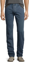 Faherty Low-Rise Canvas Jean Pants, Blue