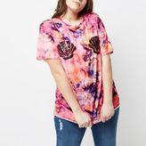 River Island Womens Plus pink tie dye sequin shell T-shirt
