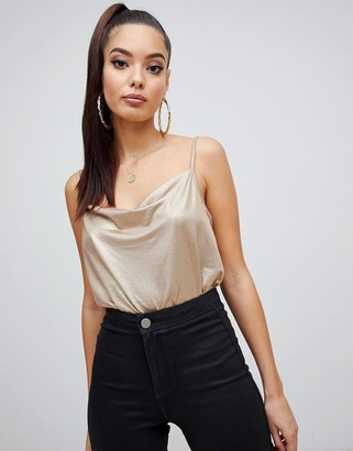 Asos DESIGN cowl front body in gold metallic with low back