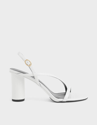 Charles & Keith Asymmetric Strap Cylindrical Heel Sandals