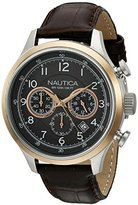 Nautica Men's A16686G NCT 16 Leather Analog Display Quartz Brown Watch