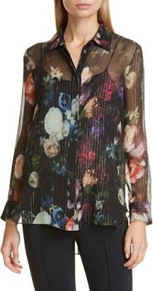 ADAM by Adam Lippes Floral Print Metallic Silk Chiffon Blouse