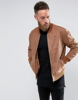 Asos Leather Bomber In Tan Nubuck