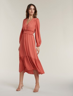 Forever New Eloise Long-Sleeve Tiered Midi Dress - Summer Melon - 10