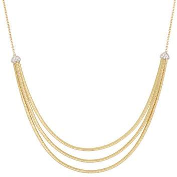 """Marco Bicego 18K Yellow Gold Cairo Three Strand Necklace with Diamonds, 16.5"""""""