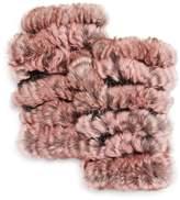 Jocelyn Plucked Rabbit Fur Fingerless Mittens