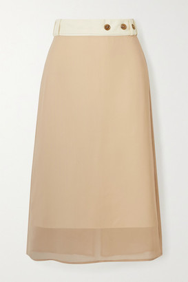 Rokh Belted Layered Canvas And Chiffon Midi Skirt - Beige