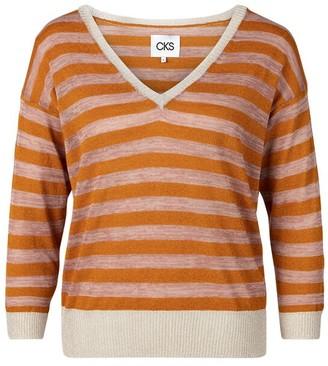 CKS - Tamiko V Neck Sweater - S . | cotton | coral | striped - Coral