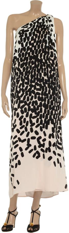 Diane von Furstenberg Liluye one-shoulder stretch-silk maxi dress
