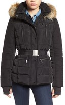 French Connection Women's Belted Quilted Jacket With Faux Fur Trim