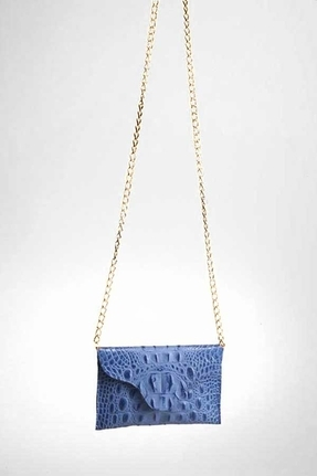 JJ Winters Gold Chain Leather Croco Miley Clutch in Brite Blue With Gold Chain