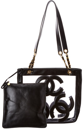 Chanel Black Vinyl Large 3Cc Tote