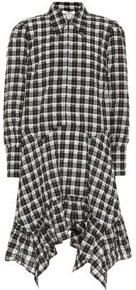 Ganni Seersucker cotton-blend checked dress