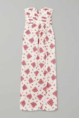 Rebecca De Ravenel Dandelion Strapless Floral-print Cotton Maxi Dress - Cream