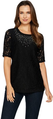 Quacker Factory Lace Elbow Sleeve Top with Rhinestones