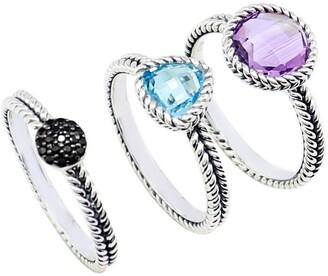 Samuel B. Sterling Silver Black Spinel, Blue Topaz, & Amethyst Stackable Ring Set