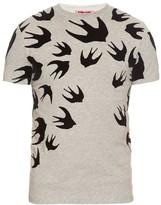 McQ by Alexander McQueen Flocked-velvet swallow-print T-shirt