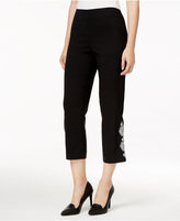 JM Collection Embroidered Capri Pants, Only at Macy's