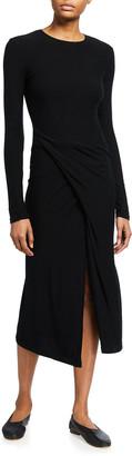 Vince Long-Sleeve Draped-Front Midi Dress