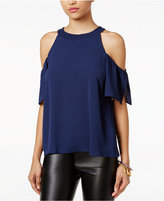 Lily Black Juniors' Ruffled Cold-Shoulder Top, Only at Macy's