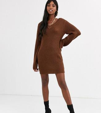 Brave Soul Tall harrison v neck sweater dress-Brown