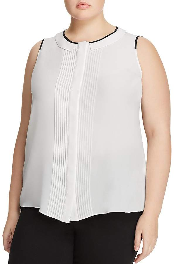 Marina Rinaldi Baldo Pleated Silk Top