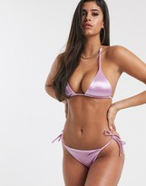 Asos Design DESIGN mirror satin sleek tie side bikini bottom in lilac shine