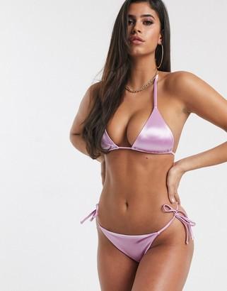 ASOS DESIGN mirror satin sleek tie side bikini bottom in lilac shine