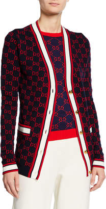 Gucci Ribbon-Trim Button Front Cardigan