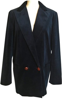 Ganni Blue Velvet Jackets