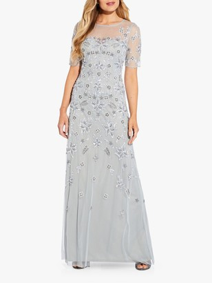Adrianna Papell Beaded Illusion Floral Print Gown, Frosted Sage