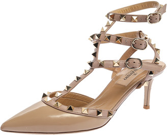 Valentino Beige Patent Leather Rockstud Ankle Strap Pointed Toe Sandals Size 36.5
