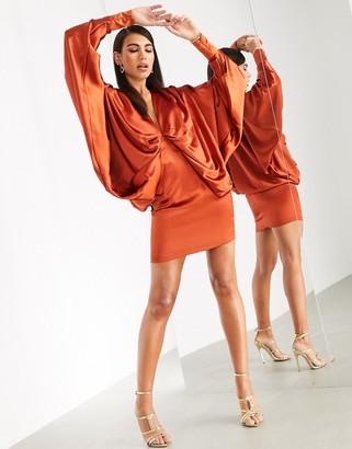 Asos Edition EDITION extreme kimono sleeve mini dress-Orange